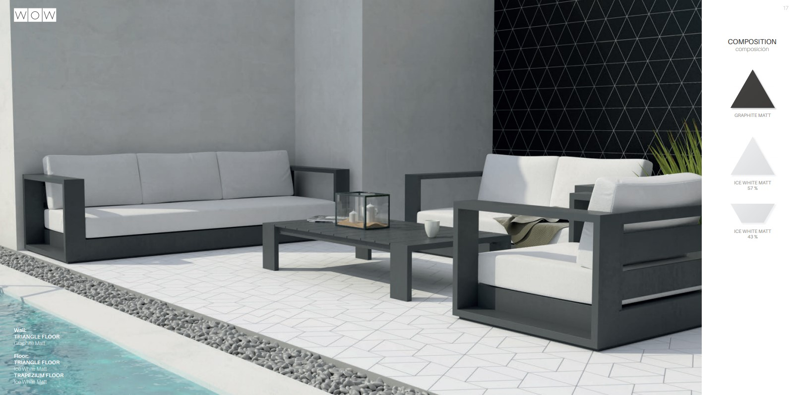 Floor Tiles Ice White Matte Triangles & Trapezium with Graphite Matte Triangle Wall