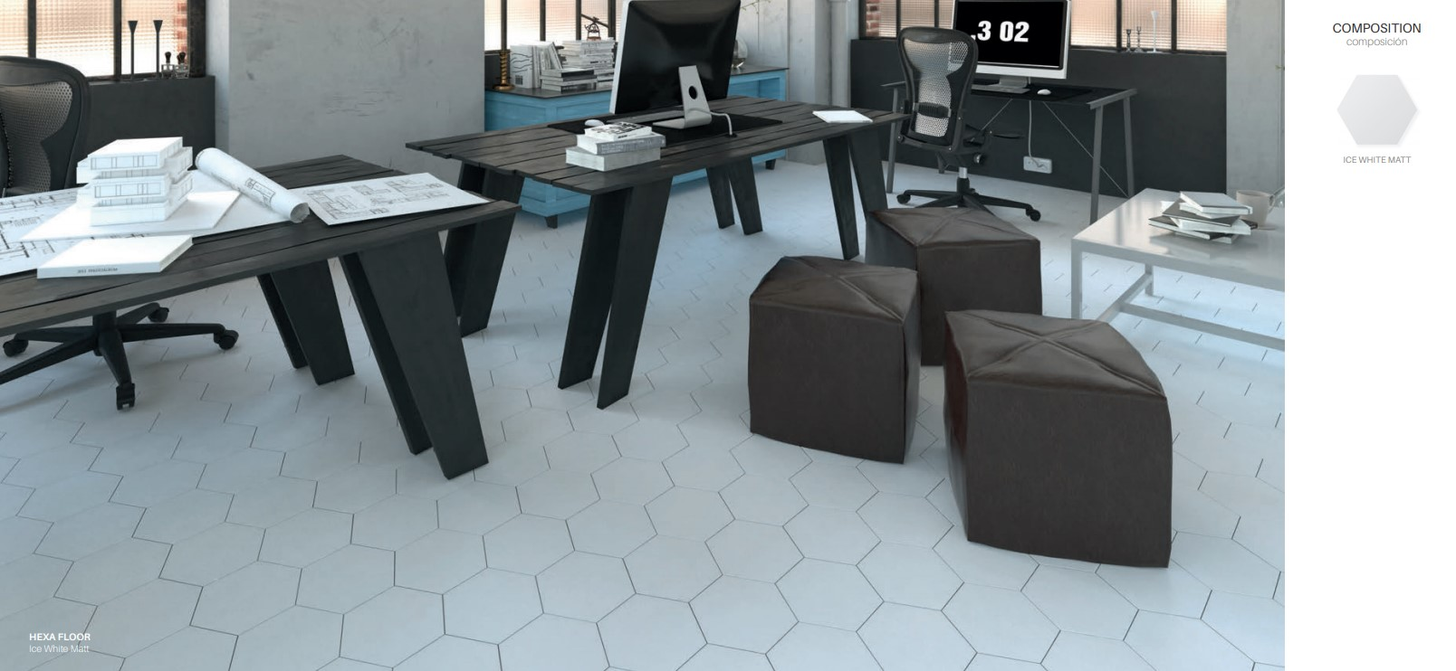 Floor Tiles Ice White Matte Hex
