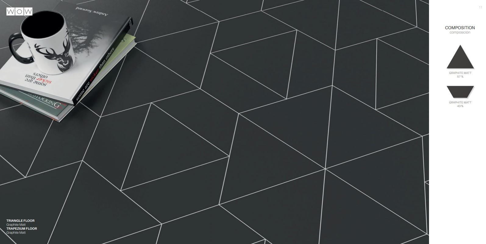 Floor Tiles Graphite Matte Trapezium & Triangles
