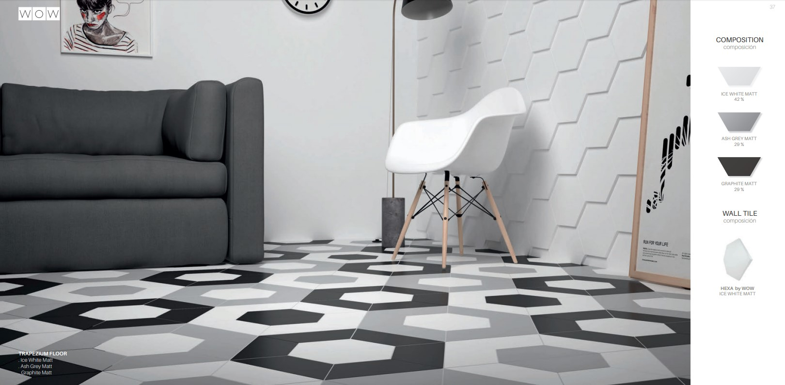 Floor Tiles Ice White, Graphite and Ash Grey Matte Trapezium with Ice White Matte Hexa Wall