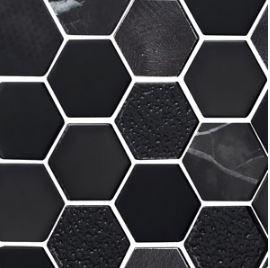 Obsidian Metallic Hex Mosaic