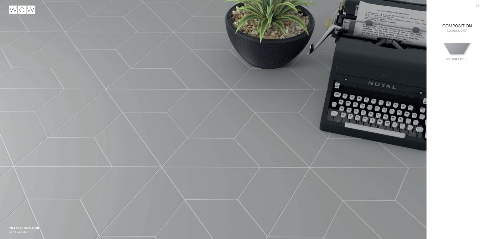 Floor Tiles Ash Grey Trapezium