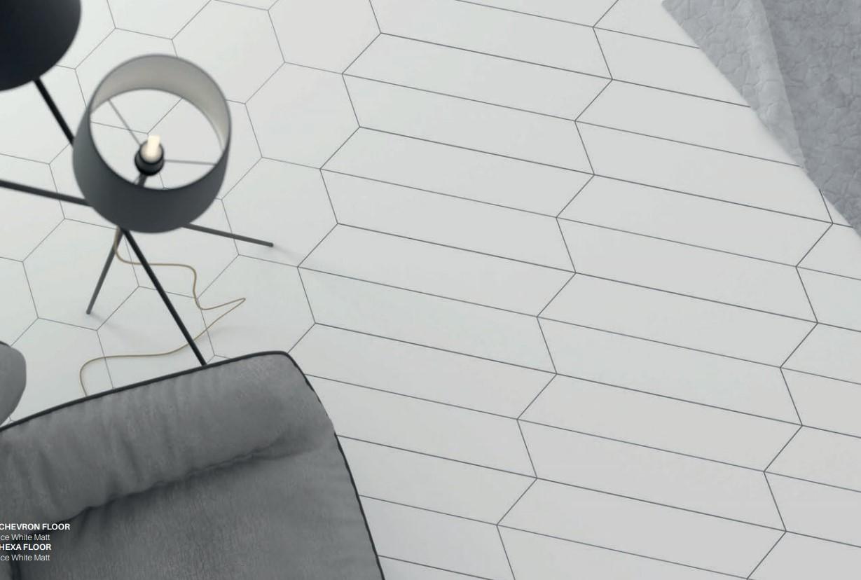 Floor Tiles Ice White Matte Chevron & Hex