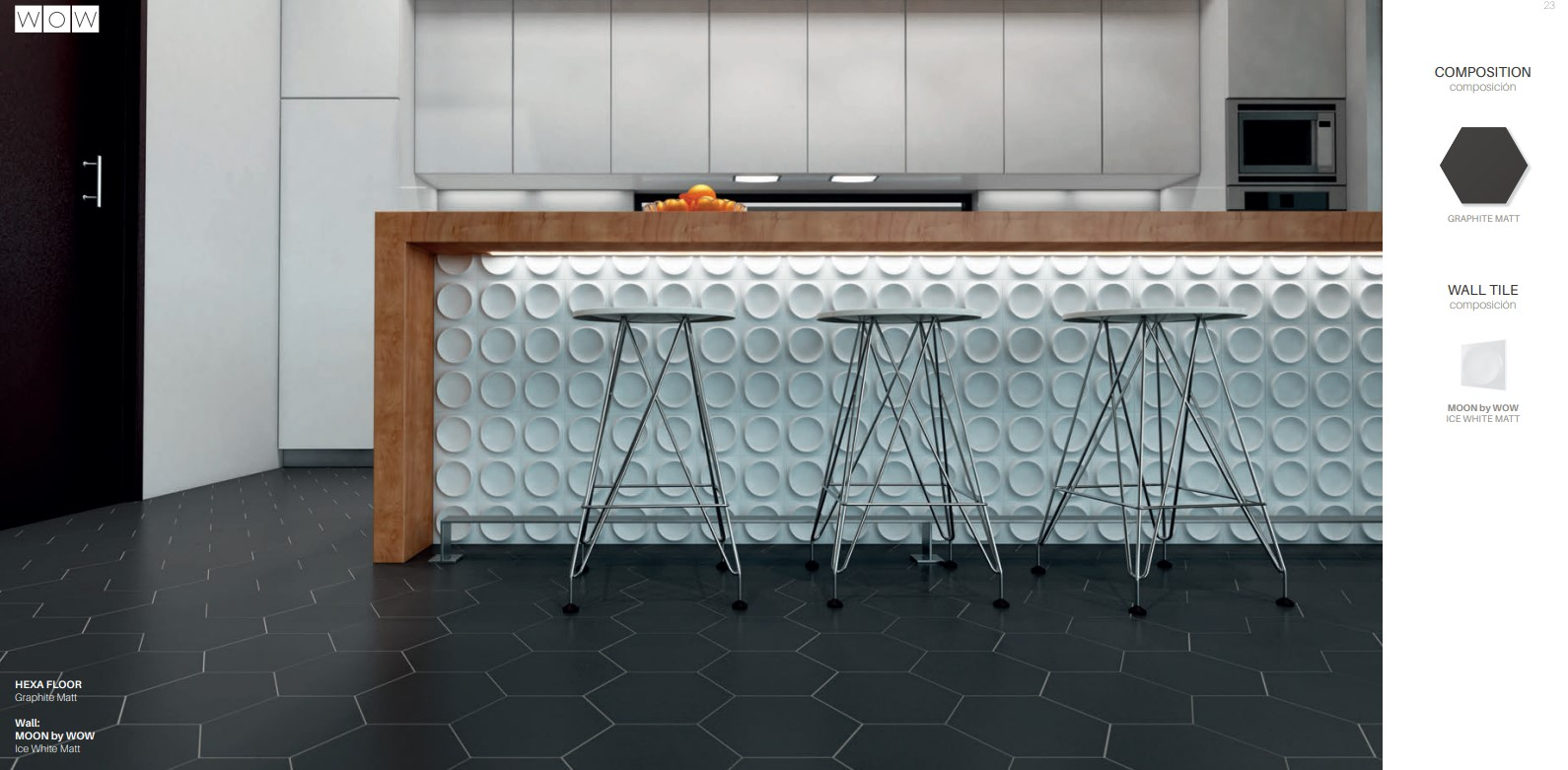 Floor Tiles Graphite Matte Hex with Moon Ice White Matte Wall