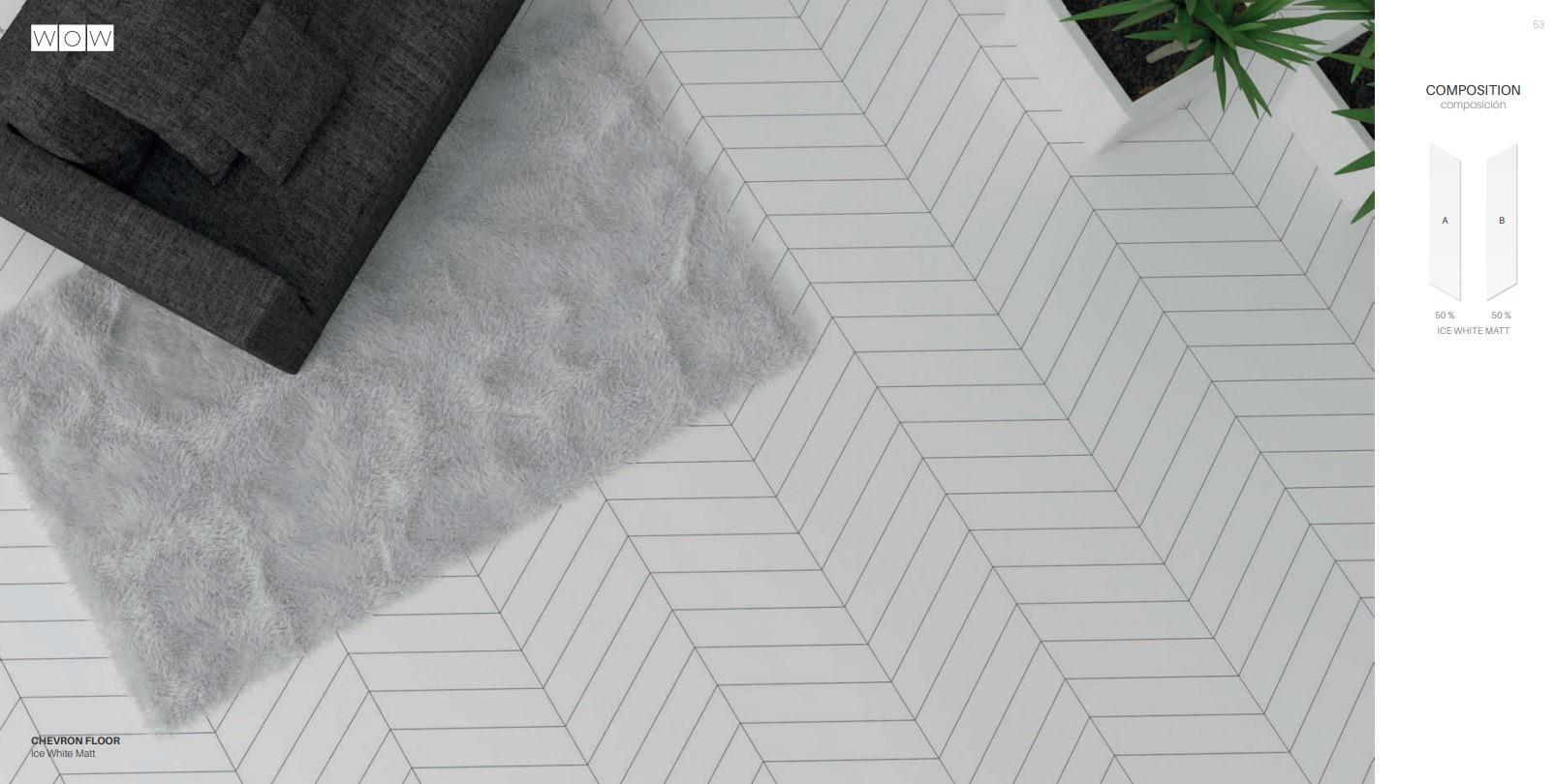 Floor Tiles Ice White Matte Chevron
