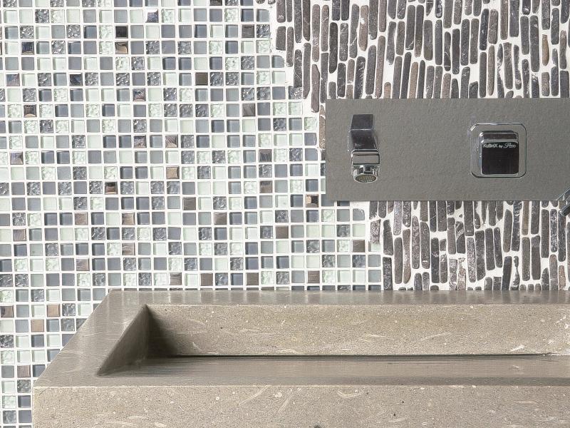 Mix Mosaic Wht Marble/Grey-Wht Glass