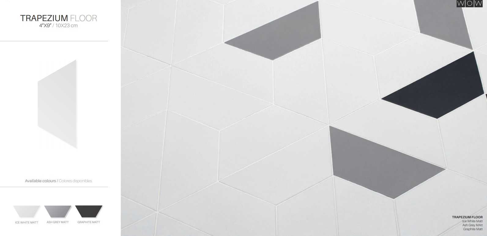 Floor Tiles Ice White Matte and Ash Gray Trapezium