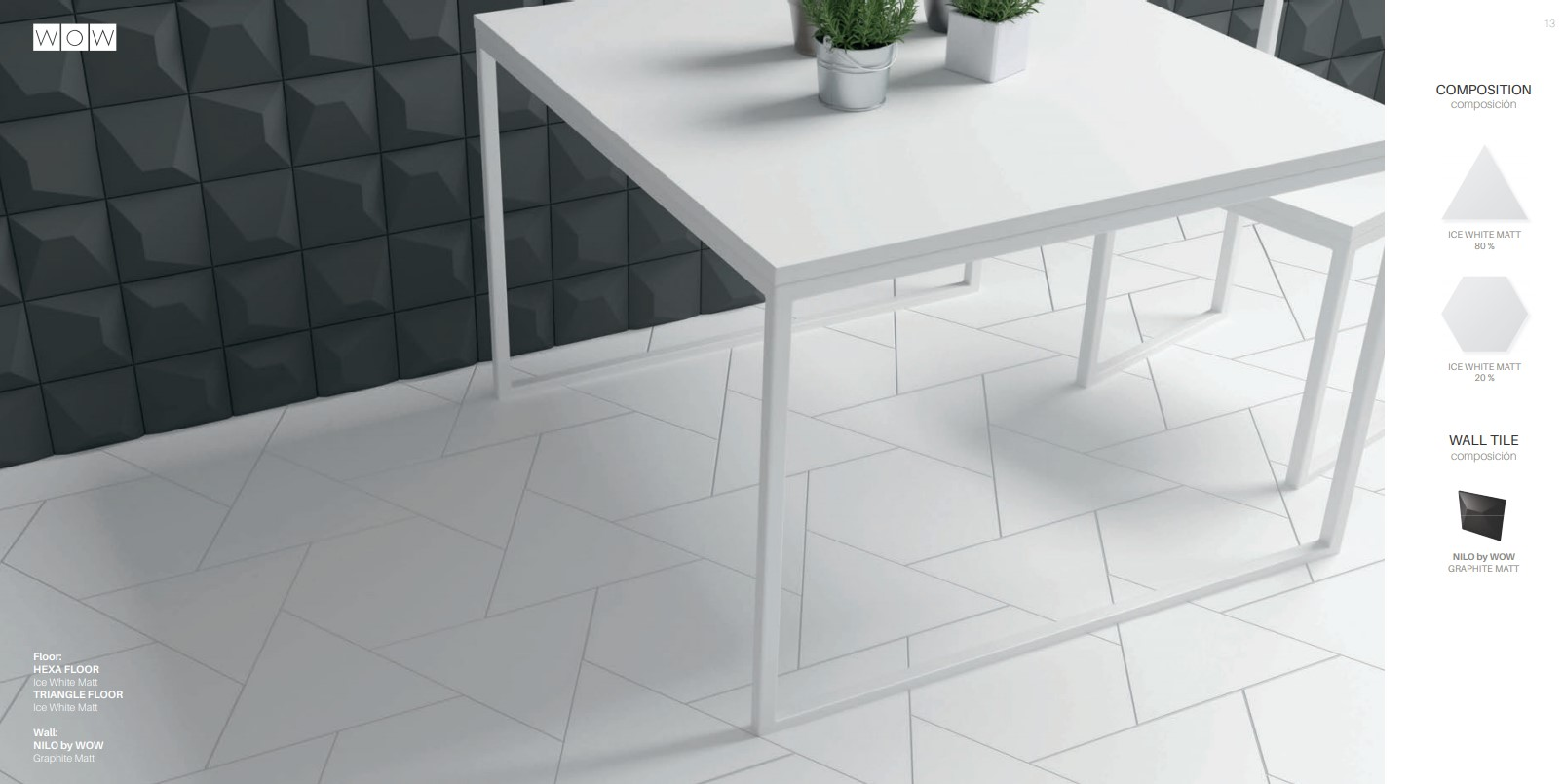 Floor Tiles Ice White Matte Hex & Triangles