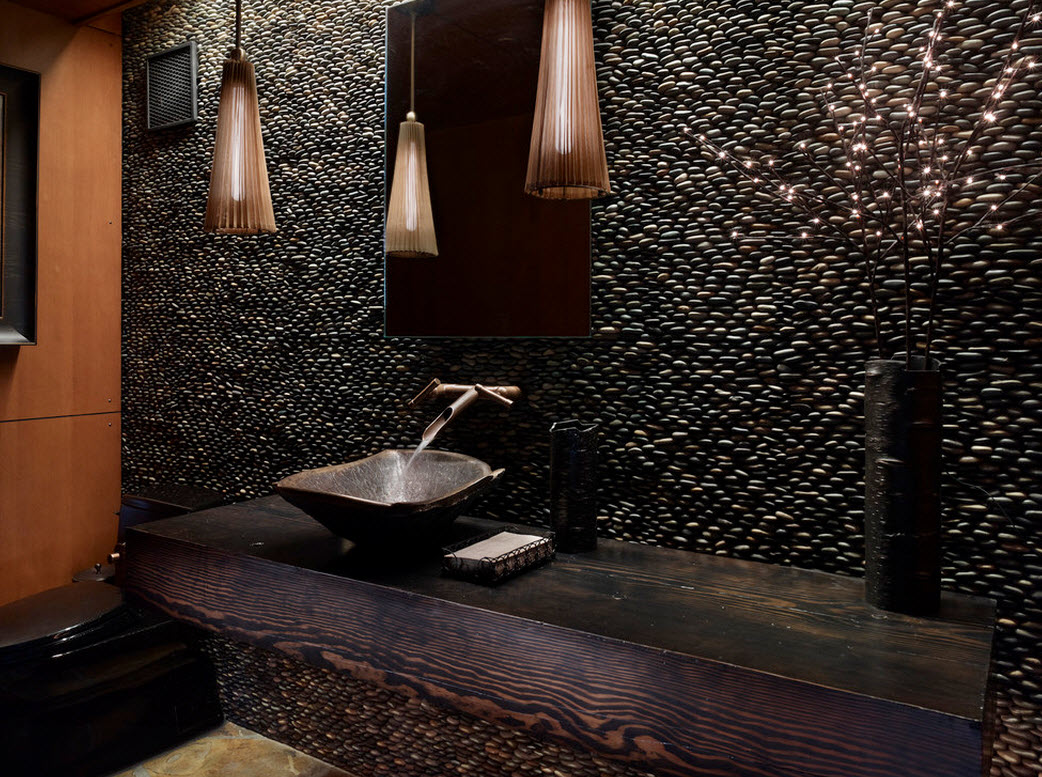 Stacked Pebble for Wall, Black