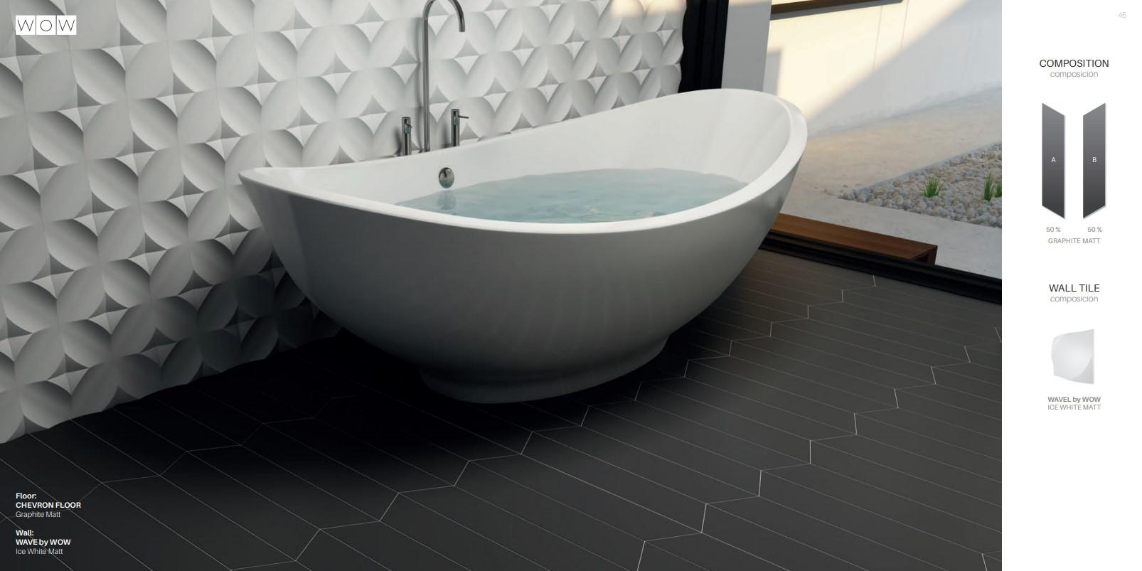 Floor Tiles Graphite Chevron Matte and Wavel Matte Ice White Wall
