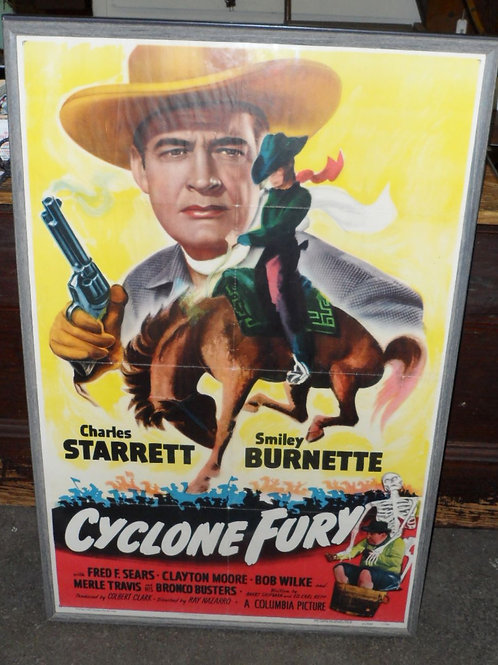 Framed Movie Poster Cyclone Fury 27in X 41in