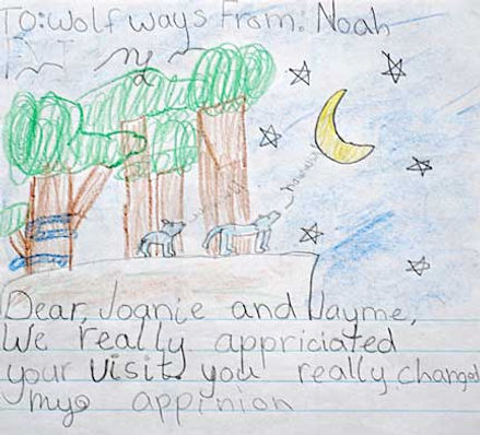 Wolf Drawing from Noah, 3rd grade