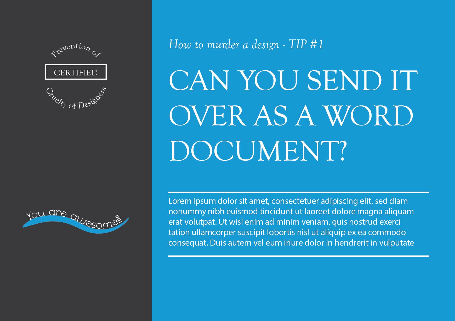 Postcard Typography Example