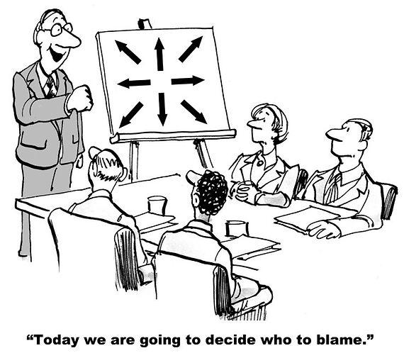 Cartoon meeting deciding who to blame