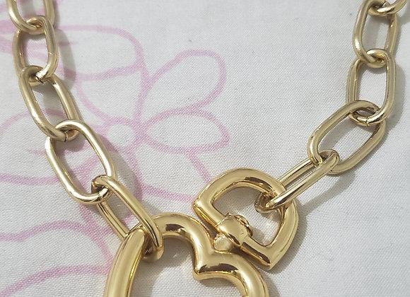 Colar Elos Correntaria Coração Dourado Maxi