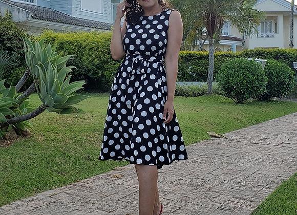 Vestido Jennifer Poá Preto/ Branco