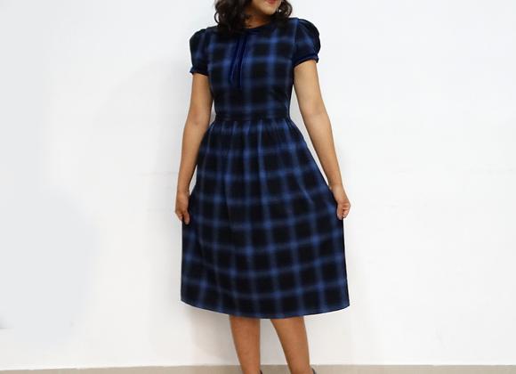 Vestido Janete Xadrez Azul