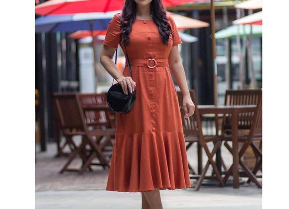 Vestido Fernanda Caterina Laranja Queimado
