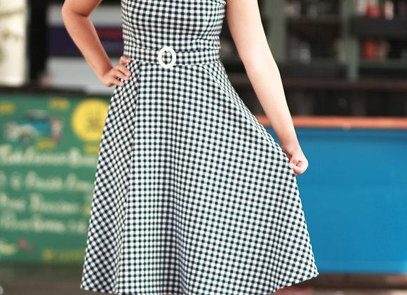 Vestido Jane Xadrez Vichy Marinho