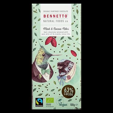 Bennetto Dark Chocolate Mint & Cacao Bar 100g