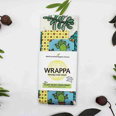 Wrappa Cacti Vegan Wrap 3 Pack (2 x med & 1 x Lrg)