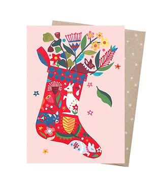 Earth Greetings Christmas Card - Folk Stocking