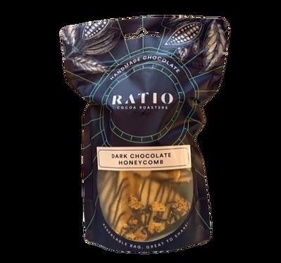 Ratio Cocoa Roasters 63% Dark Chocolate Vegan Honeycomb 125g
