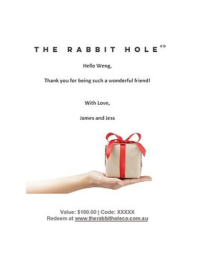 Digital Gift Card for The Rabbit Hole Co