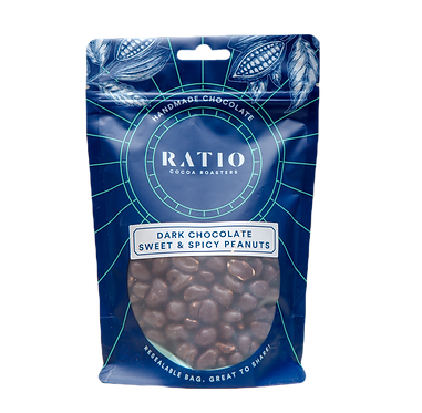Ratio Cocoa Roasters 63% Dark Chocolate Sweet & Spicy Peanuts 220g