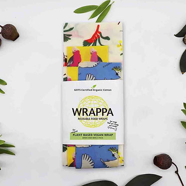 Wrappa Birds and Bees Vegan Wrap 3 Pack (2 x med & 1 x Lrg)