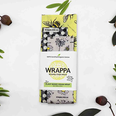 Wrappa Busy Bees Vegan Wrap 3 Pack (2 x med & 1 x Lrg)