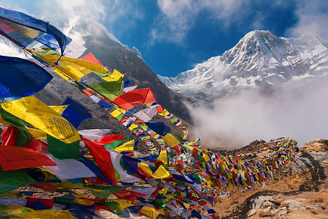 Prayer flags and Mt. Annapurna I backgro