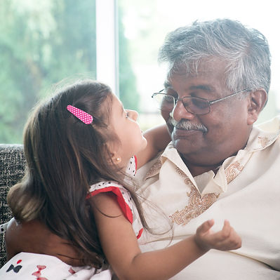 Portrait Indian family at home. Grandpar