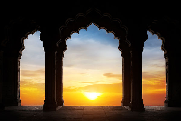 Indian arch silhouette in old temple at