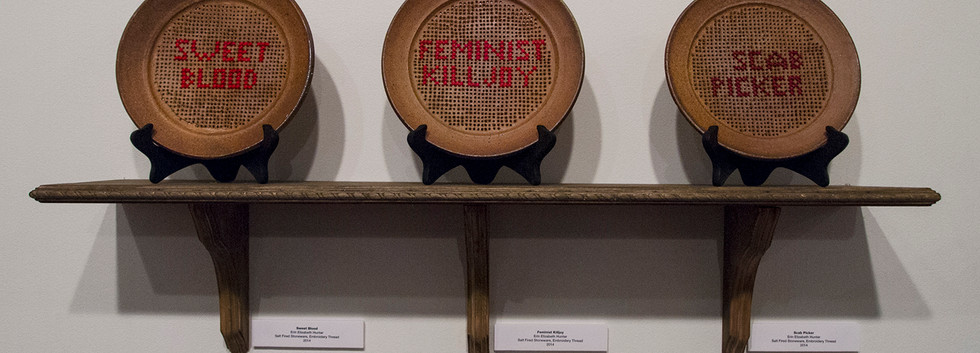 Cross stitched plates, 2014