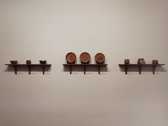 "Three shelves of work from BFA Senior Exhibition ""Curiosities"", 2014"