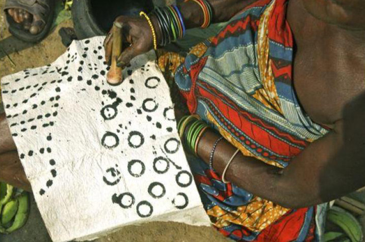 Woman from the Ituri forest painting Barkcloth
