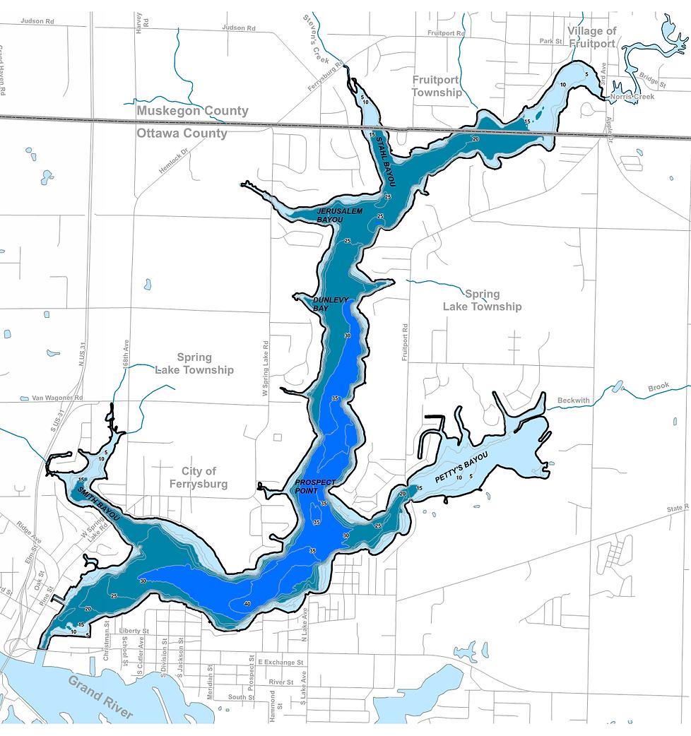Spring Lake Depth Contour Map.png