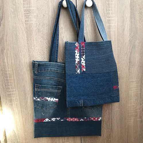 Recycled denim bags for mom and daughter
