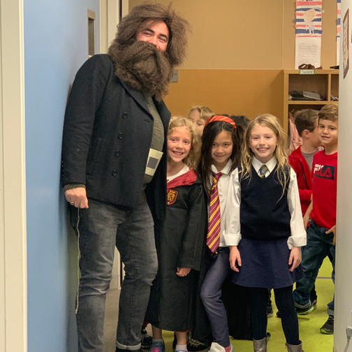 Hagrid with his students