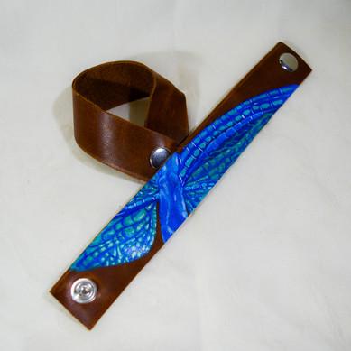 Blue Dragonfly Leather Bracelet