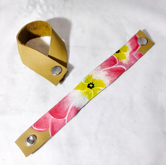 Pink Hibiscus Leather Bracelet
