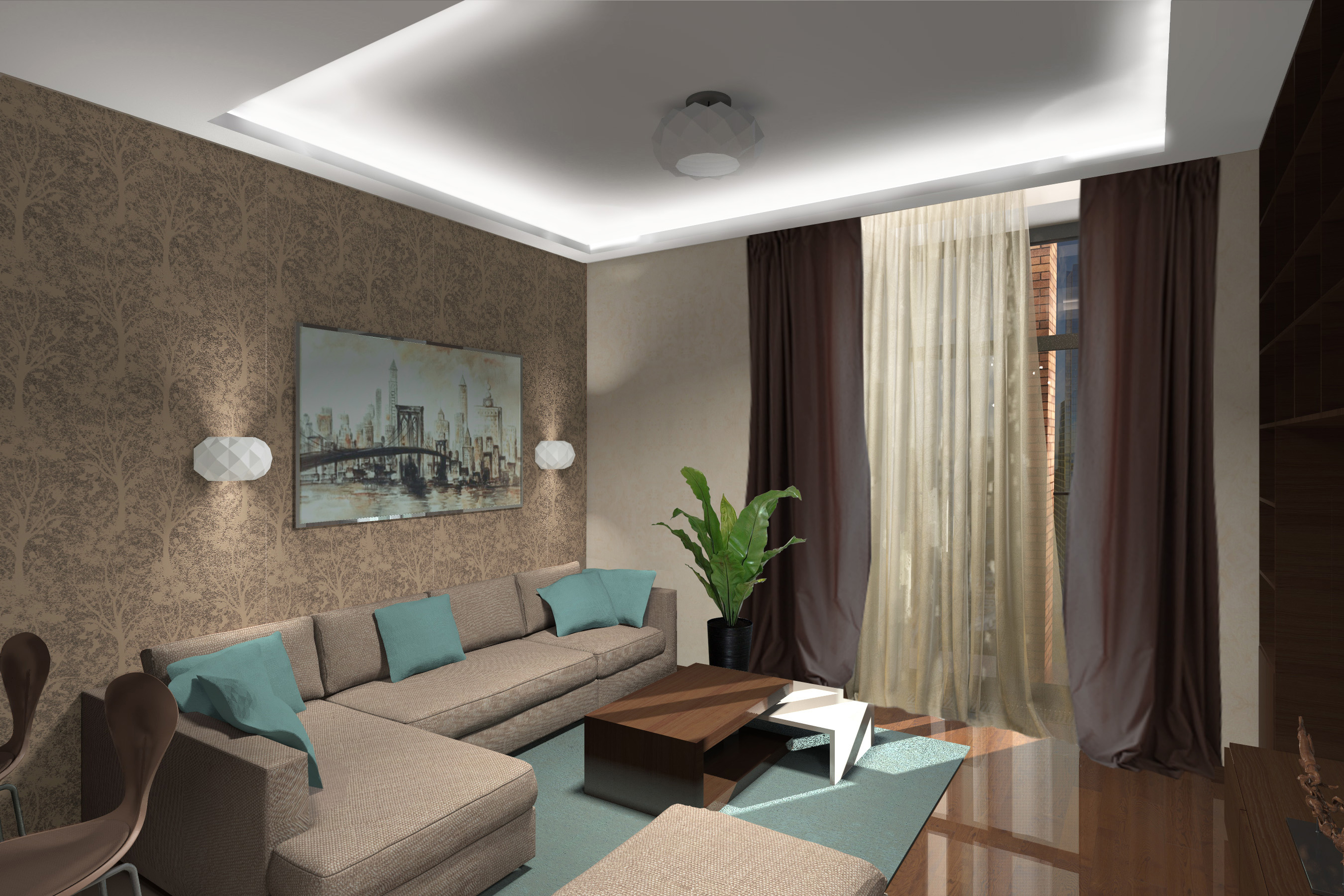 Гостиная -кухня вид на диван