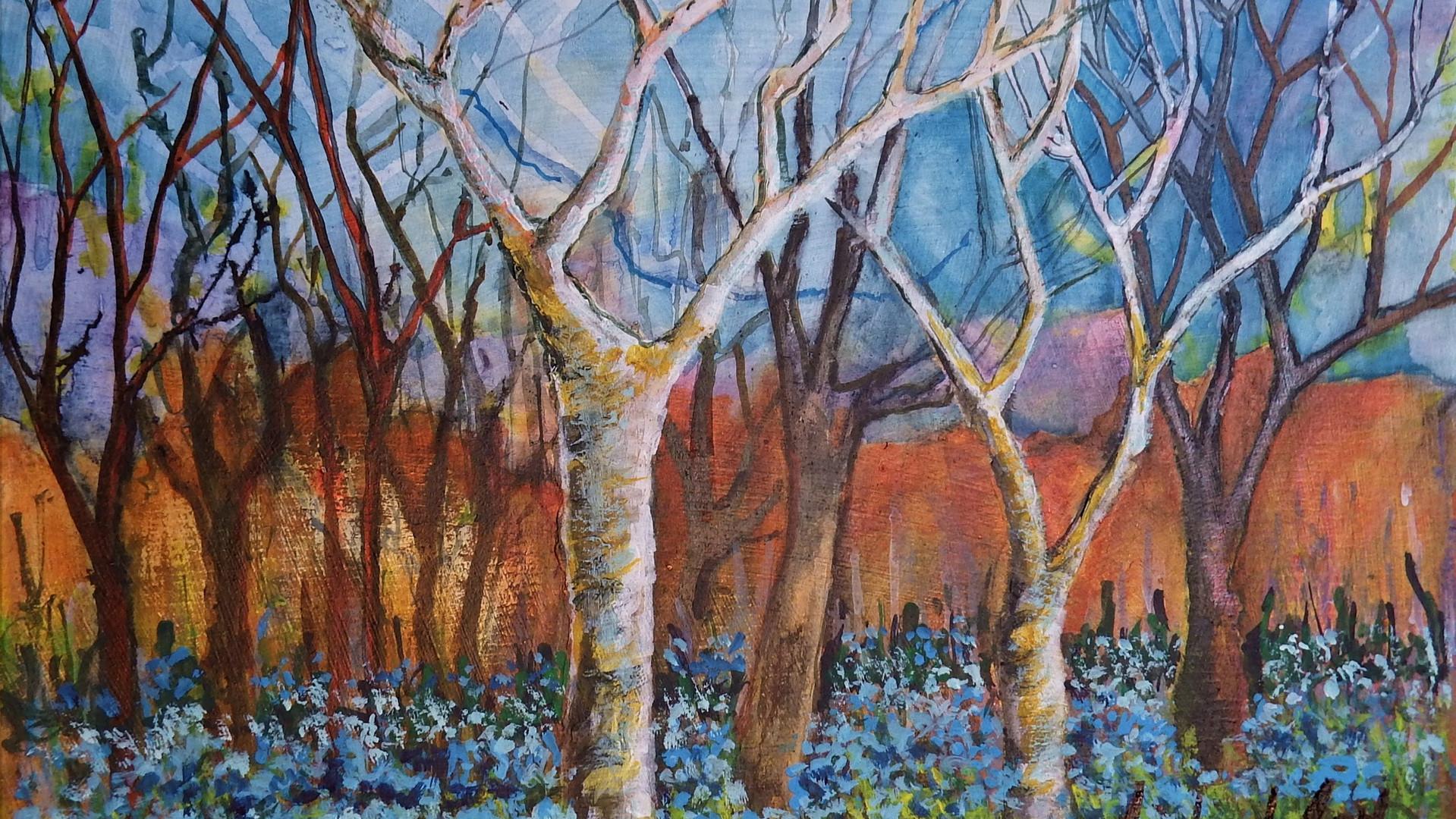 Tree Patterns. Acrylics & inks. 49x36cms