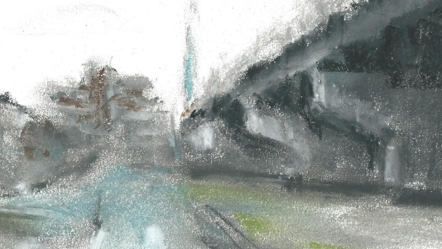 York Road, Leeds Oil pastels. 21x21cms