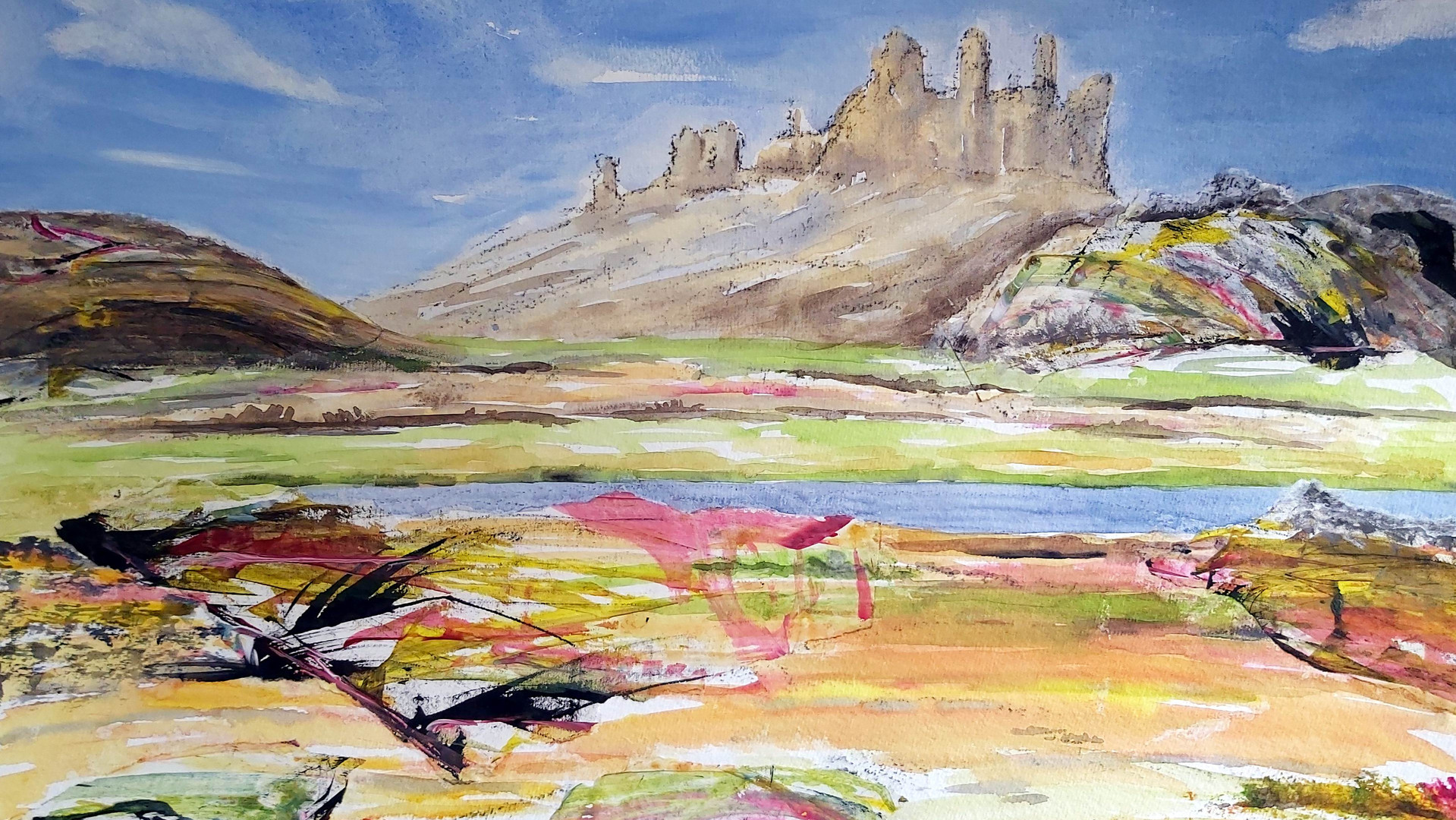 Dunstanburgh Castle Mixed media