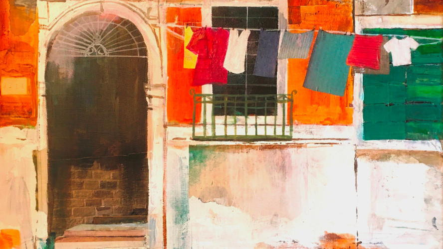 Washing Day Mixed media on canvas. 40x60cms