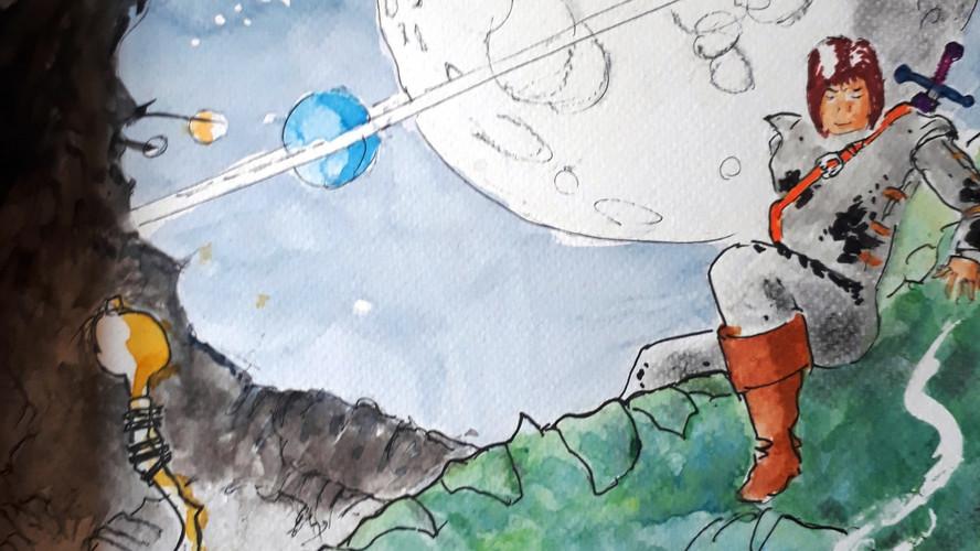 Slain Dragon Pen, ink & watercolour