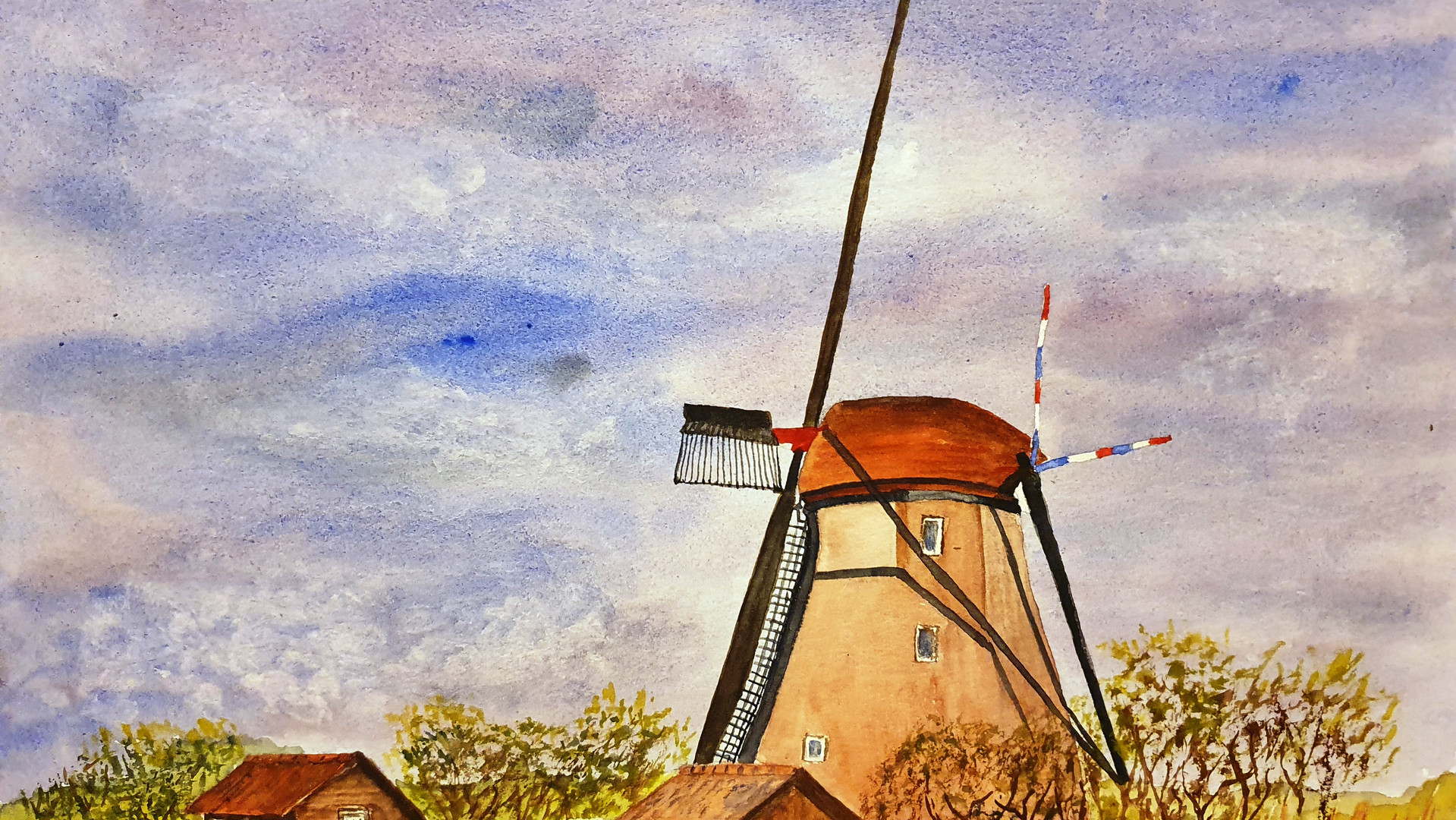 Dutch Windpump Watercolour. 30x40cms