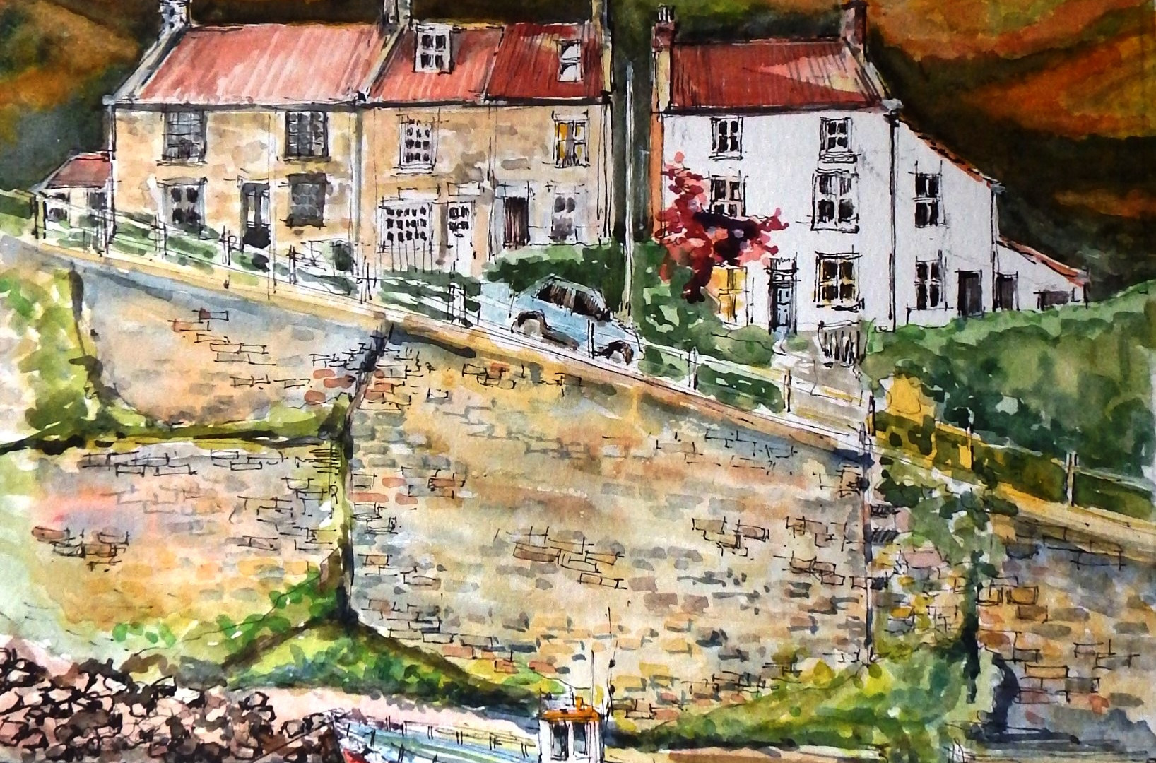 Sunlit Cowbar, Staithes. Ink & watercolour. 46x46cms